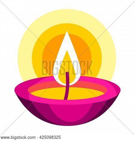 Illustration Of Diwali Oil Lamp. Deepavali Or Dipavali Festival Of Lights.