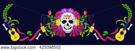 Day Of The Dead Greeting Card. Dia De Los Muertos. Mexican Celebration.