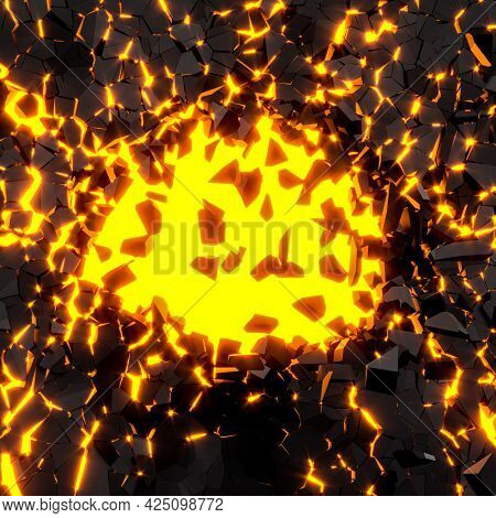 explosion of a dark colored wall. orange glow. 3d render.