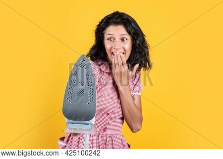 Modern Iron Expelling Hot Steam. Female Ironing In Laundry Room. Cheerful Woman Presenting Product.