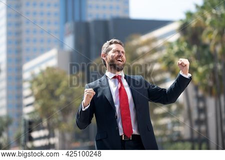 Yes. Business Excitement. Man Expressing Positivity. Professional Bearded Ceo Celebrating Success