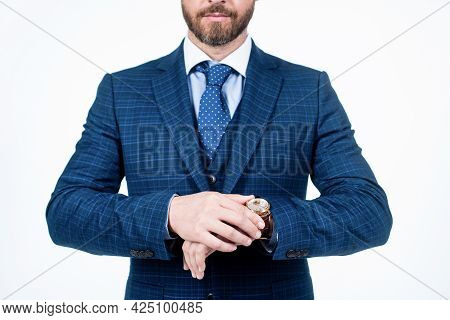 Cropped Man In Formalwear Check The Time On Wristwatch, Punctuality