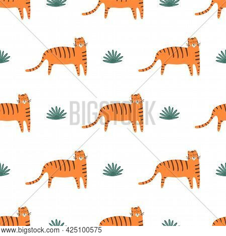 Cute Tiger Pattern. Wild Cat Seamless Pattern. Childish African Background. Cartoon Tiger Print. Fas