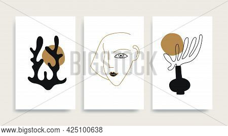Woman Fase Silhouette Line Art Matisse Painting. Golden Black Colors Reproduction Of Painting. Conte