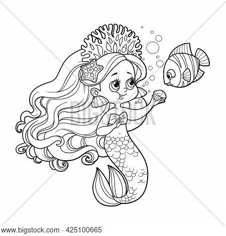 Cute Little Mermaid Girl In Coral Tiara And The Fish Are Eating A Cupcake Outlined For Coloring Page