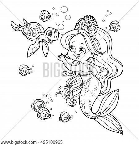 Cute Little Mermaid Girl In Coral Tiara Communicates With A Small Sea Turtle Outlined For Coloring P
