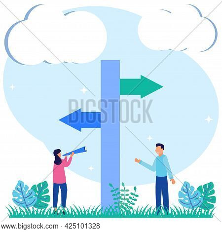 Vector Illustration Of An Option As Separate Path Decisions To Select From 2 Options. Confusion Of B