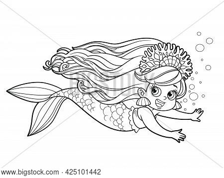 Cute Little Mermaid Girl In Coral Tiara Floats Forward Outlined For Coloring Page Isolated On White