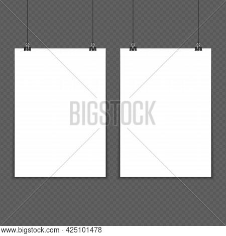 Two Empty White A4 Sized Vector Paper Mockup. Realistic Vertical Poster Mock-up Isolated On Vintage