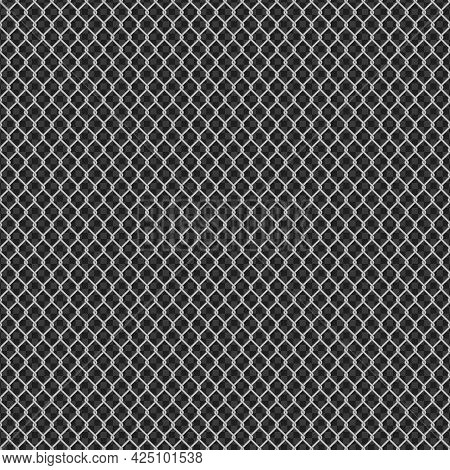 Seamless Metal Chain Link Fence On Transparent Background. Wired Fence Pattern In Shades Of Grey. St