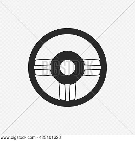 Steering Wheel. Monochrome Illustration Of Car Steering Wheel Vector Icon For Web Applications Or Ga