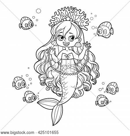 Cute Little Mermaid Girl In Coral Tiara Shows A Long Pearl Necklace To A Fish Outlined For Coloring