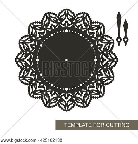 Wall Clock With Decorative Design. Dial Without Numbers, Minute And Hour Hands, Lace Ornament Along