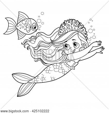 Cute Little Mermaid Girl In Coral Tiara Swims Racing With A Fish Outlined For Coloring Page Isolated