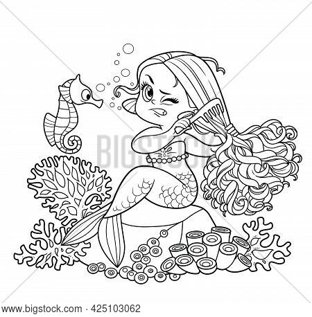 Cute Little Mermaid Girl Sitting On A Stone And Combing Tangled Hair With A Comb Outlined For Colori