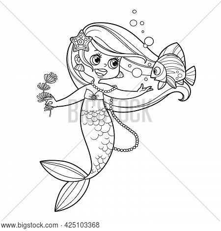 Cute Little Mermaid Girl With Seaweed In Hand Speaks With Fish Outlined For Coloring Page Isolated O