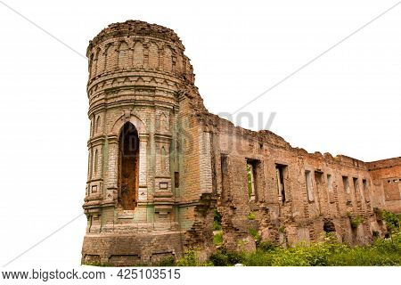 Tower Of An Old Abandoned Castle Isolated On White Background. Earl\'s Ruins. Architecture, Brick Wa
