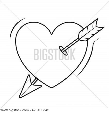 Simple Vector Isolated Icon. Sticker Of A Heart Pierced By Cupid Broken Arrow. Illustration On The T