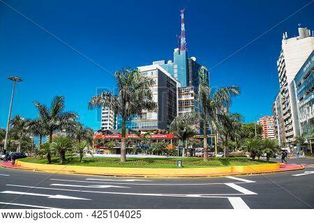 lima, Peru-Jan 11, 2019: Street view in Miraflores district. Lima, Peru.