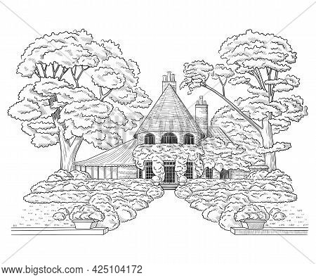 Vector Illustration With Style Mansion, Country Estate. Building Architecture
