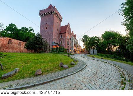 Poznan. Old Traditional Narrow City Street At Sunrise.