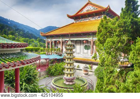 The Entrance Hall And Various Architecture Within The Kek Lok Si Temple In Penang Malaysia On A Sunn