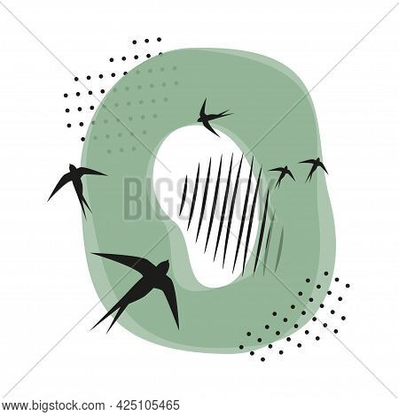 Minimalistic Pattern An Oriental Style In Form Of Letter O. Flock Of Swallows Flies. Abstract Object