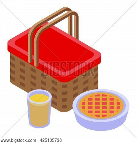 Picnic Basket Pie Icon Isometric Vector. Food Picnic Basket. Family Cheese, Lemonade, Sandwich