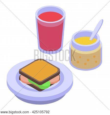 Picnic Sandwich Icon Isometric Vector. Food Basket Sandwich. Buffet Plate