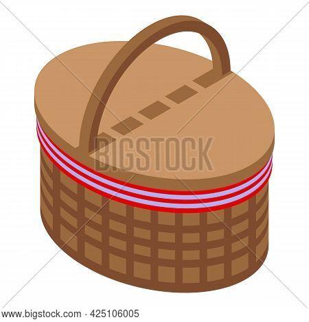 Farmer Picnic Basket Icon Isometric Vector. Wicker Food Box. Lunch Picnic Basket