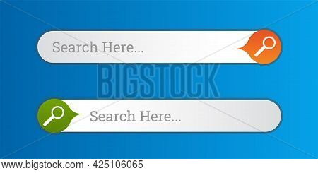Search Bar Field. Vector Interface Element With Search Button. Flat Vector Illustration On Blue Back