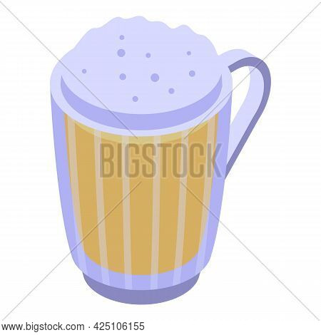Beer Mug Icon Isometric Vector. Pint Glass Beer Foam. Bar Drink