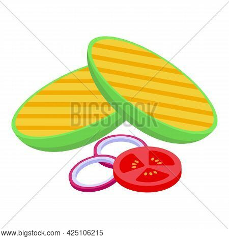 Grilled Vegetables Con Isometric Vector. Barbecue Grill Food. Bbq Vegetables