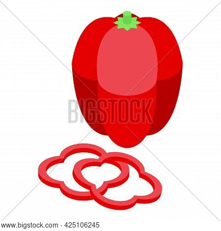 Red Paprika Icon Isometric Vector. Pepper Isolated. Paprika Chili Vegetable