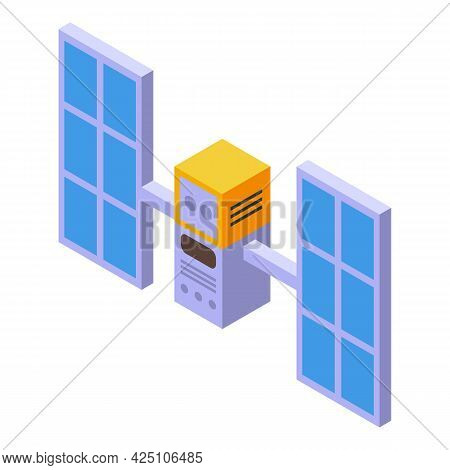 Space Satellite Icon Isometric Vector. Space Antenna Station. Earth Satellite