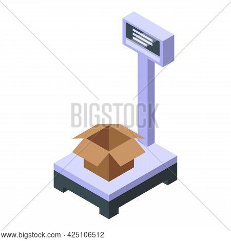 Parcel Scales Icon Isometric Vector. Weight Box Package. Balance Parcel