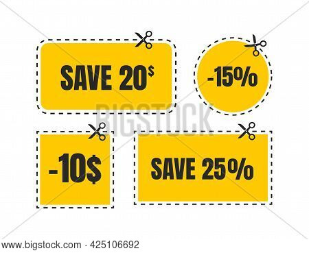 Vector Coupon Discount Isolated. Gift Voucher For Business. Set Of Promo Coupons.