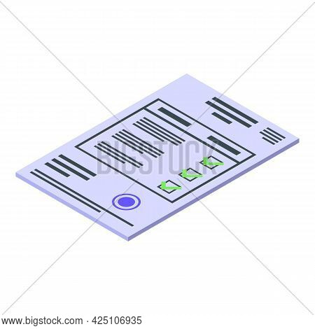 Test Result Document Icon Isometric Vector. Corona Report. Patient Hospital Test Result