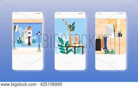 Perfume Bottle, Clothes Commercial Photography. Mobile App Screens, Vector Website Banner Template.