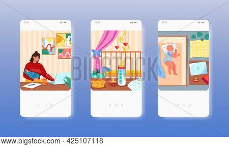 Single Mom Working On Computer With Baby In Arms. Mobile App Screens, Vector Website Banner Template