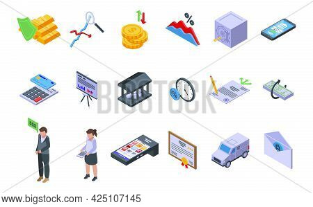 Bank Reserves Icons Set Isometric Vector. Check Gold Money. Accounting Moneybox