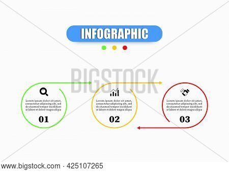 Circle Infographic Design Template Presents Three Elements. Business Infographics With Icons And 3 O