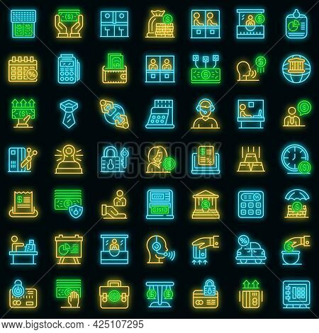 Bank Teller Icons Set. Outline Set Of Bank Teller Vector Icons Neon Color On Black