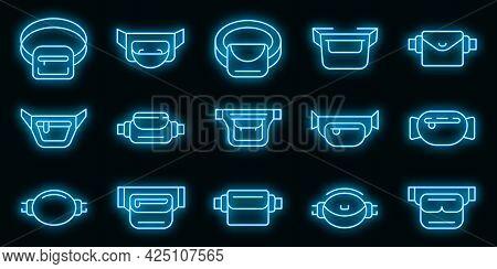 Waist Bag Icons Set. Outline Set Of Waist Bag Vector Icons Neon Color On Black