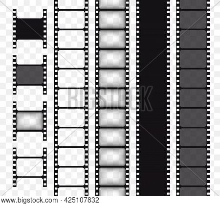 Set Of Vector Film Strip Isolated On Transparent Background. Movie Tape Vector Illustration