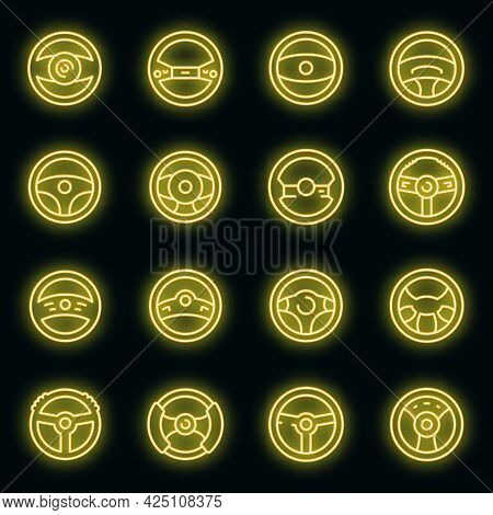 Steering Wheel Icons Set. Outline Set Of Steering Wheel Vector Icons Neon Color On Black