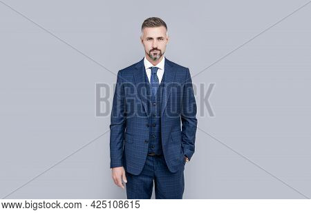His Own Style. Successful Man In Businesslike Suit. Entrepreneur Or Manager.