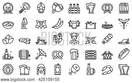 German Cuisine Icons Set Outline Vector. Cafe Sausage. German Chicken Cooking