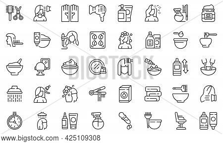Hair Colouring Icons Set Outline Vector. Fashion Dye Shower. Style Hair Colouring
