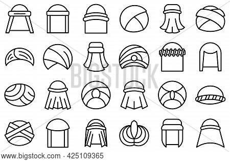 Arabic Turban Icons Set Outline Vector. Arab Hat Accessories. Oriental Turban